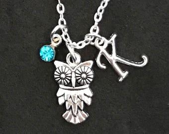 Personalized Owl Necklace Owl Jewelry