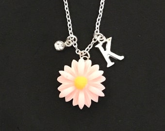 Personalized Pink Daisy Necklace Flower Girl Necklace Wedding Party Rose Necklace