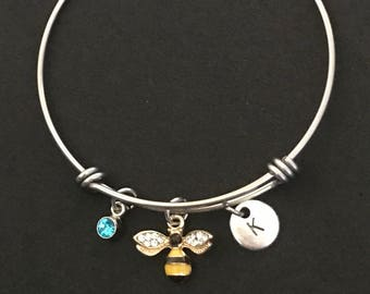 Personalized Bumble Bee Bangle Bee Bracelet Bee Jewelry