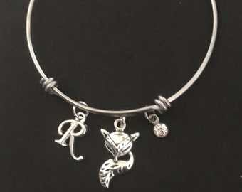 Fox Initial Bangle Fox Initial Bracelet Fox Jewelry