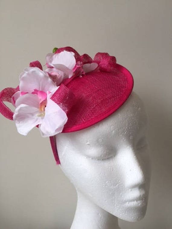 Pink hatinator with loops and white orchids. Stunning on  1ac45413ce4
