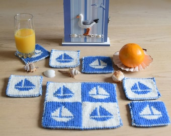 Knitting pattern for coasters, Boat coasters and place setting pattern, knitting pattern table mat and coasters, handmade knitted gift