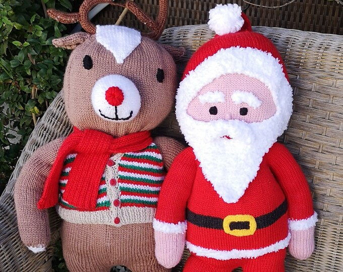 Santa and Rudolph knitting pattern, Knitted Christmas toys, Handmade soft toys, Red-nosed reindeer, Knitting patterns for baby toys