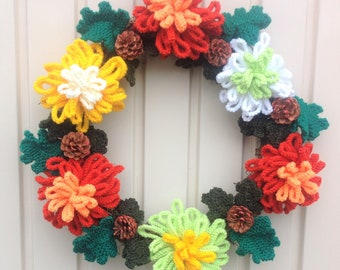 Knitted Christmas Wreath,  Xmas Knitting pattern, Christmas flowers, Christmas decoration, Front door wreath, Chrysanthemum Flower Ring