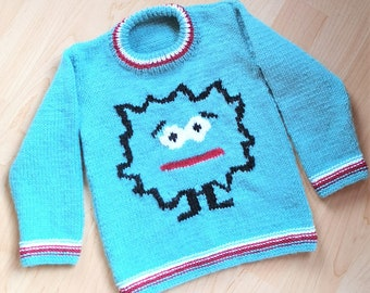 Knitting Pattern - Monster Child's Sweater, Monsters Boys and Girls patterns, Double Knitting Design for round necked jumper with Monster
