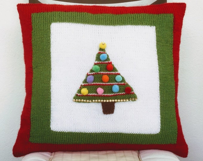 Knitting Pattern - Christmas Tree Cushion, Pillow with Decorated Xmas Tree, Festive Home Decoration, Fir Tree, Digital Knitting Patterns