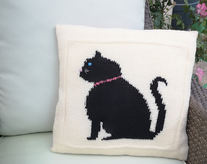 Knitting Pattern Decorative Throw Pillow Cover with Cat, Pets Pillows Cushion Cover, Home Decor Sofa Cover Living Room Pillowcase Gifts