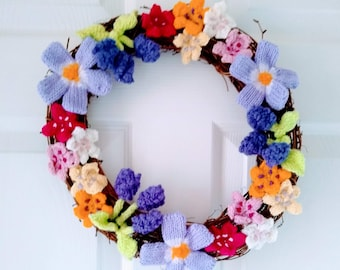 Knitting pattern for a Ring of Spring Flowers including Periwinkles, Grape Hyacinth and Cherry Blossom, Wreath, Pdf download digital pattern