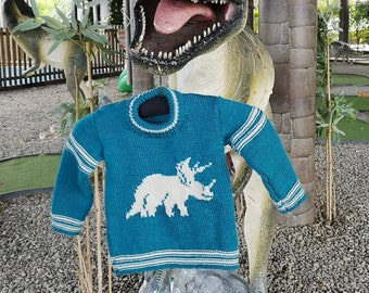 Hand knitted Dinosaur Sweater for age 2-3 years, child's knitted jumper with Triceratops, woollen intarsia jumper, child's dino sweater