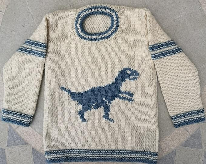 Knitting Pattern - Dinosaur Child's Sweater-Velociraptor, Boys patterns, Double Knitting Design for round necked jumper, Dino chart, pdf