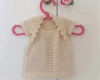 Baby Lace Dress and Shrug Knitting Pattern, Knitting Patterns for Baby Girls and Toddlers, Double Knitting Baby Jacket and Dress Outfit