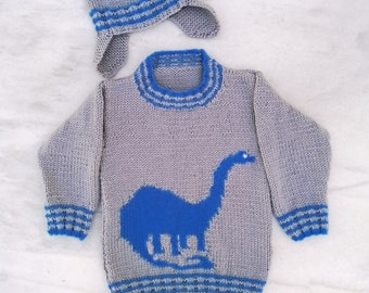 Dinosaur Child's Sweater and Hat - Brontosaurus - Knitting Pattern,  Aran Dinosaur Jumper and Hat Knitting Pattern, Dino Knitting Pattern
