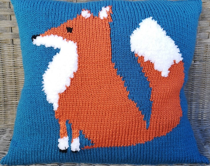 Knitting Pattern for a Fox Cushion using Aran or Worsted Wool, Pillow with a Fox with fluffy white tail, Home Decoration,Knitting Patterns