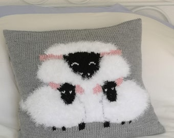 Knitting Pattern for Sheep Cushion using Aran or Worsted Wool, Pillow with a Sheep and Lambs, Chunky Cushion, PDF download Knitting Patterns
