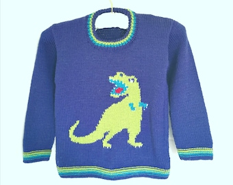 Knitting Pattern - Dinosaur Child's Sweater - T-Rex, Tyrannosaurus Rex Boys patterns, Double Knitting Design for round necked jumper
