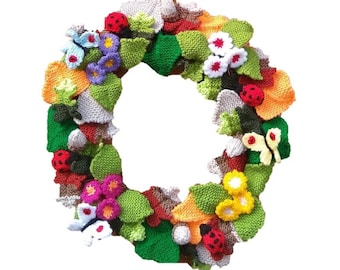 Knitting pattern for Woodland Wreath,  Knitted Primroses, Leaves, Acorns, Butterflies, Ladybirds, Everlasting Flower Knitting Patterns