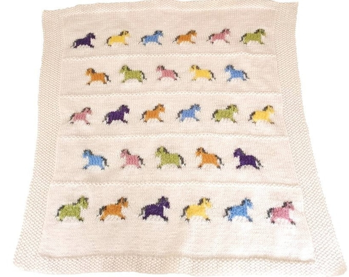 Knitting pattern for a Little Pony Blanket, Throw Knitting Pattern with ponies, Baby Blanket with Horses, Lap blanket, digital download pdf