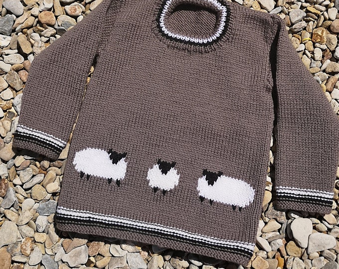 Knitting Pattern for Sweater with Sheep, Sheep Jumper Knitting Pattern for Boys and Girls in DK wool, Sheep Intarsia Chart, Digital Download
