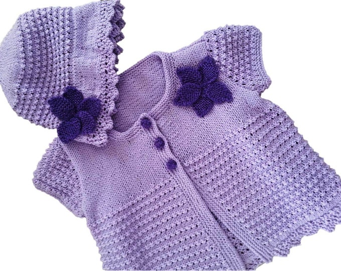 Girl's Knitting Pattern, Summer Sun Hat and Jacket , Knitted Cotton Hat and Cardigan, Lightweight Knitted Baby Outfit, Lacy Hat and Jacket