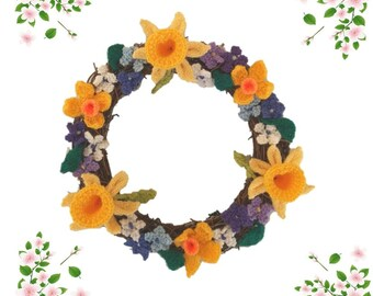 Knitted Easter Wreath,  Knitting pattern for spring flowers, Ring of Easter flowers with daffodils and blossom, Pdf download digital pattern