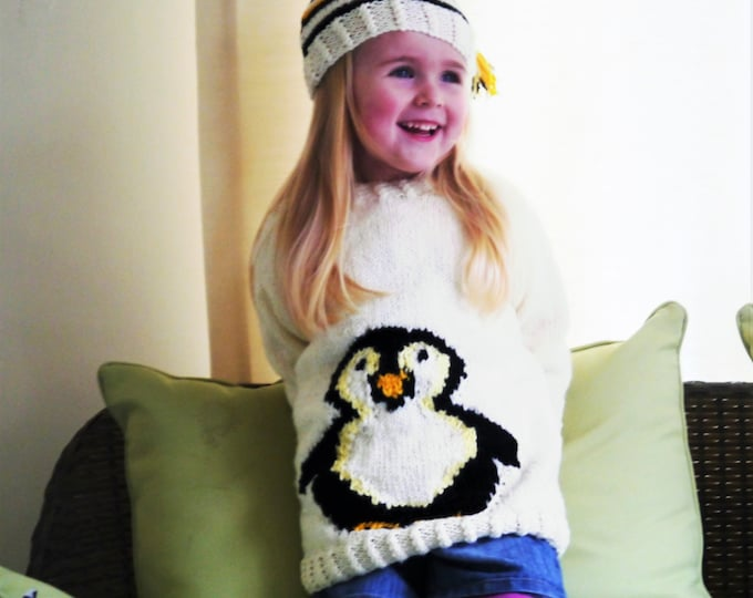 Knitting Pattern for Aran Penguin Child's Sweater and Hat, Penguin Sweater and Hat Knitting Pattern, Aran Penguin Knitting Pattern, Penguin