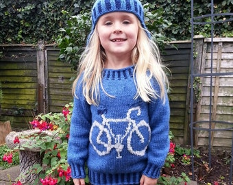 Children's knitting pattern with Bike,  Bike Sweater and Hat Knitting Pattern, Bicycle on Sweater and Hat, Girls and Boys knitting pattern