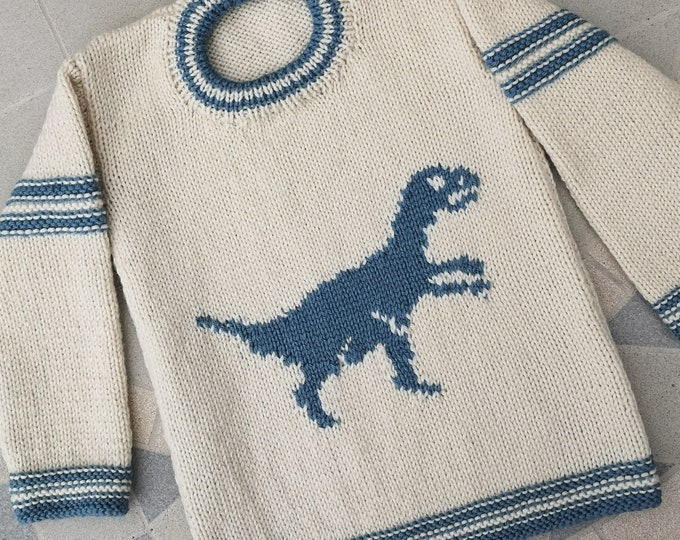 Hand knitted Dinosaur Sweater for age 2-3 years, child's knitted jumper with Velociraptor, woollen intarsia jumper, child's dino sweater