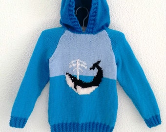 Whale hoodie knitting pattern.  Sizes birth to 7 years.  Double knitting (8 ply) yarn.