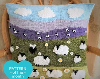 Sheep Cushion Knitting Pattern, Pillow with Flock of Sheep and 1 Black Sheep on the Hillside, Sheep with daisies, pdf digital download sheep