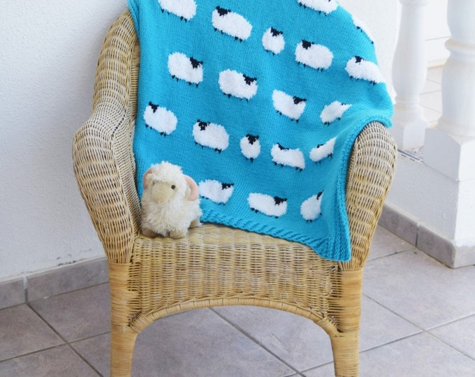 Hand Knitted Blanket featuring Flock of White Fluffy Sheep, Aran Cot - Pram - Pushchair Baby Blanket with Sheep, Sofa Chair Sheep Lap Throw