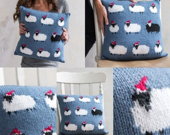 Knitting Pattern for a Sheep Cushion using Aran or Worsted Wool, Pillow with  Sheep in Christmas Hats, Knitting Patterns