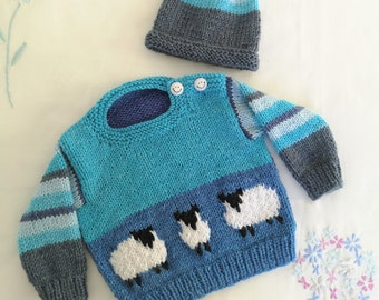 Sheep Baby Sweater and Hat Knitting Pattern, Aran Worsted Jumper for ages up to 2 years,  Baby Knitted Outfit, Trendy Baby Handknit for Boys