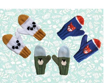 Aran knitting pattern for children's mittens, Intarsia animal gloves with panda, sheep and fox, 3 designs and 3 sizes, pdf digital download