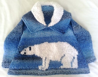 Knitting Pattern for a Child's Sweater with a Polar Bear on the front knitted in Chunky Yarn