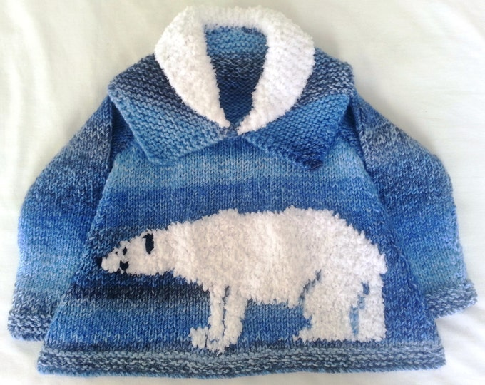 Childrens Sweater Knitting Pattern with Polar Bear, Polar Bear Knitting Pattern,  Chunky Yarn Knitting Pattern, Chunky Sweater Child Pattern