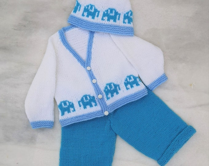 Elephant Knitting Pattern for Baby sweater trousers and hat, Elephant Jumper and Hat for Boy and Girl, knitting pattern for babies toddlers