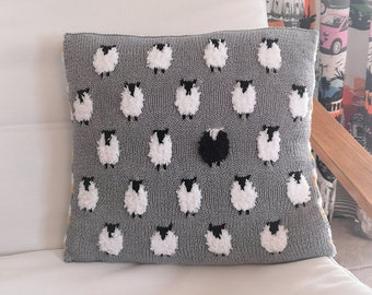 Knitting Pattern - Sheep Cushion using double knitting wool, Pillow with Sheep and stripes, Home Decoration, Digital Knitting Patterns