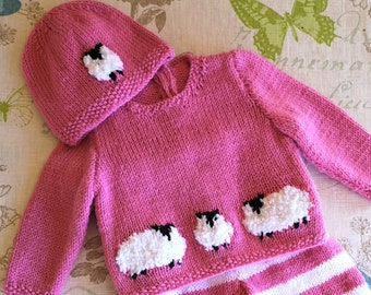 Knitting Pattern for Baby Sheep Sweater and Hat, Sheep Jumper and Hat for Boy or Girl, Sheep Sweater and Hat knitting pattern