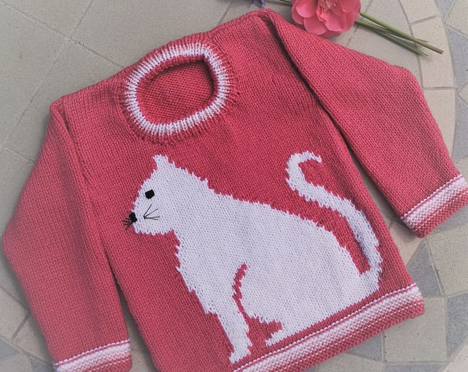 Hand knitted Sweater featuring a cat for age 2-3 years, child's knitted jumper with cat, woollen intarsia jumper, girl's child's sweater