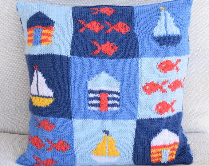 Knitting Pattern for a Seaside Cushion, Pillow with beach theme, Patchwork Knitted Boats, Knitted Beach Huts, Knitted Fish, digital download