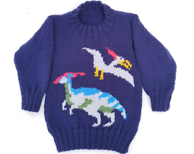 Dinosaur Child's Sweater and Hat - Jurassic - Knitting Pattern,  Aran Dinosaur Jumper and Hat Knitting Pattern, Dino Knitting Pattern,10 ply