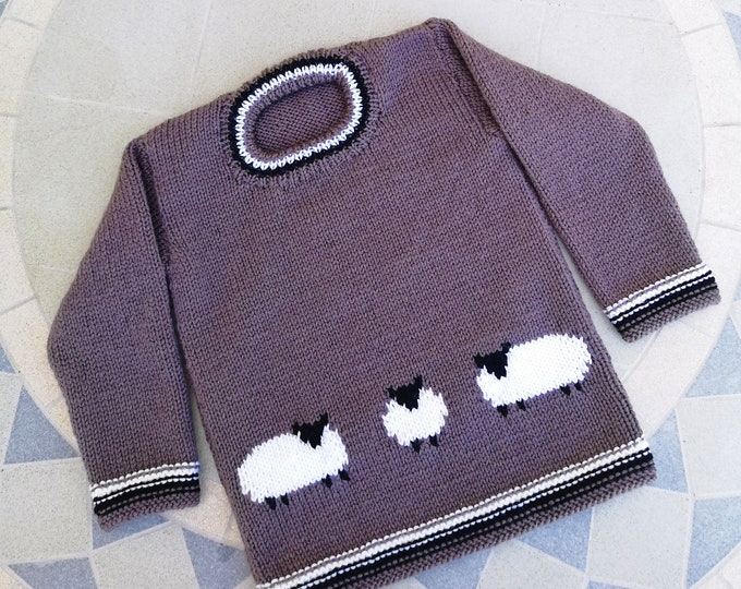 Hand knitted Sweater featuring sheep for age 2-3 years, child's knitted jumper with sheep, woollen intarsia jumper, 2 years child's sweater