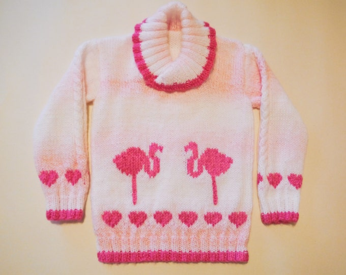 Children Knitting Patterns, Child's Sweater with Flamingos and Hearts, Girls knitting pattern, Child's jumper knitting pattern with flamingo