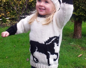 Knitting Pattern for Horse Child's Sweater and Hat, Horse Sweater & Hat Knitting Pattern, Aran Horse Knitting Pattern, Hat Horse Pattern