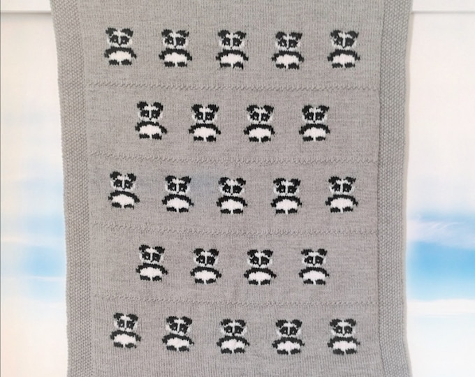 Knitting pattern for Panda Blanket, Throw Knitting Pattern with Black and White Pandas, Baby Blanket with Pandas, digital download patterns