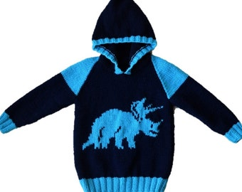 Knitting pattern for boys and girls dinosaur hoodie, Pdf download knitting pattern, Triceratops Jumper, Dinosaurs childrens knitting pattern