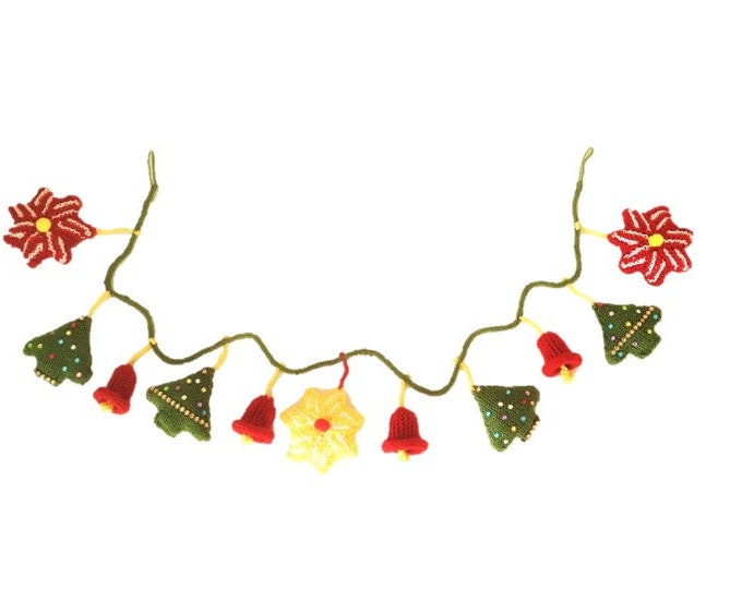 Knitting Pattern for Christmas Garland,  Christmas Trees, Stars, Bells, Xmas Decorations, Festive Handmade Fireplace Garland, download pdf