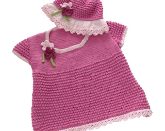 Girl's Knitting Pattern Sun Hat and Summer Top, Sun Hat with matching lacy top, Lightweight Cotton Sun Hat and T shirt babies children