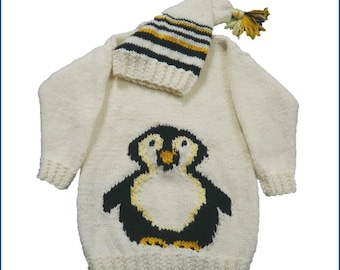 Penguin Child's Sweater and Hat Aran Knitting Pattern,  Penguin Sweater and Hat Knitting Pattern, Aran Penguin Knitting Pattern, Penguin