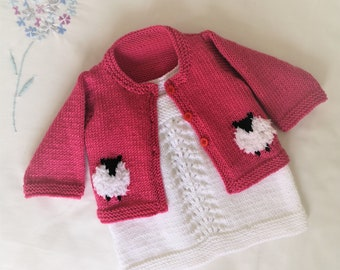 Knitting Pattern for Baby Sheep Cardigan and Dress, Sheep Jacket and Lace Dress for Babies and Toddlers DK wool, Digital Knitting Patterns